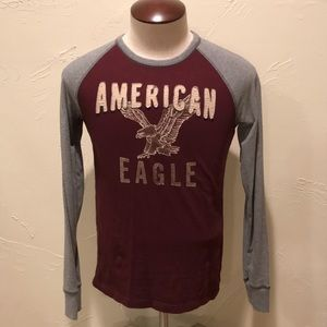 American Eagle Red & Gray Men XS Long Sleeve Shirt